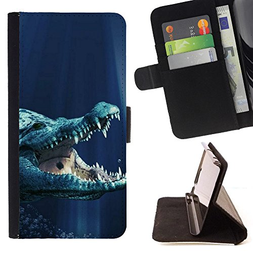 Planetar Colorful Pattern Flip Wallet Leather Holster Protective Skin Case Cover For LG Ray / Zone ( Prehistoric Crocodile Blue Water )