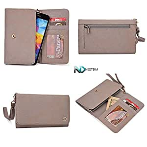 Womens Genuine Leather Wristlet Wallet Samsung Galaxy Wonder |Universal fit with Credit Card Slots and Removable Handstrap| Timber Grey