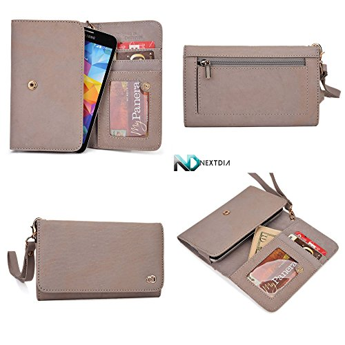 Smartphone Genuine Leather Wallet Wristlet for Motorola Moto X (2nd Gen)| Dim Grey with Credit Card Slots and Zippered Pouch for Coins + Detachable Wristlet