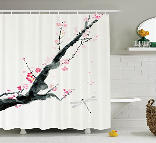 Ambesonne Country Decor Shower Curtain Set, Branch of A Pink Cherry Blossom Sakura Tree Bud and A Dragonfly Dramatic Artisan Decor, Bathroom Accessories, 69W X 70L Inches, Jungle Green and Pink ()