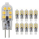 Dayker 2W G4 LED Bi Pin Bulb Jc Type G4 Base Lightbulb AC/DC 12V Warm White for Ceiling Lights, Accent Lights, Puck Lighting(10 Pack)