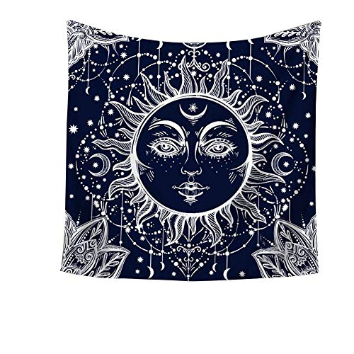 Psychedelic Celestial Indian Sun and Moon Tapestry Wall Hanging Hippie Hippy Boho Bohemian Wall Art - Window Curtain Table Cover Bedspread Beach Towel Tapestry HYC20#4 - Moon Art Wall Face
