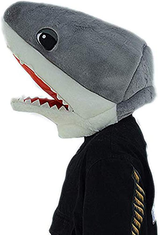 Plush Halloween Shark Head Mask Mascot Costume Gray