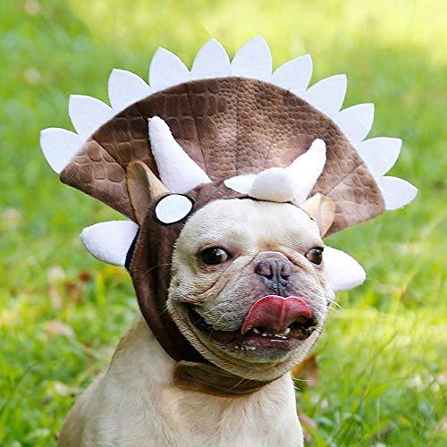 Aolvo Dog Dinosaur Costume,Adjustable Dog Triceratops Costume for Dogs Such As Bug, Bull Terrier, Shar Pei, Bulldog, Corgi, Labrador, Retriever, Japanese Akita, Poodle ()