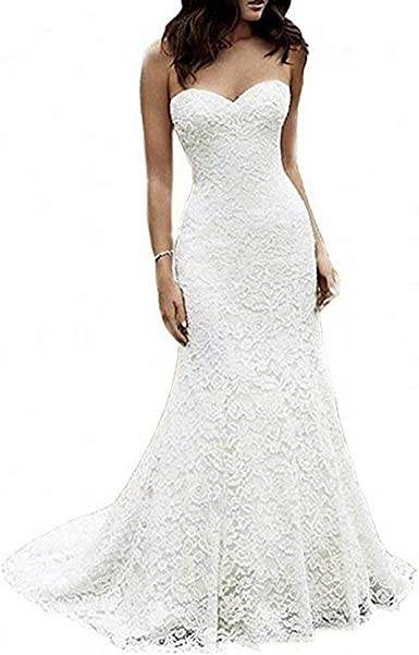 White Ivory Color Women Long Mermaid Lace Wedding Dresses Sexy