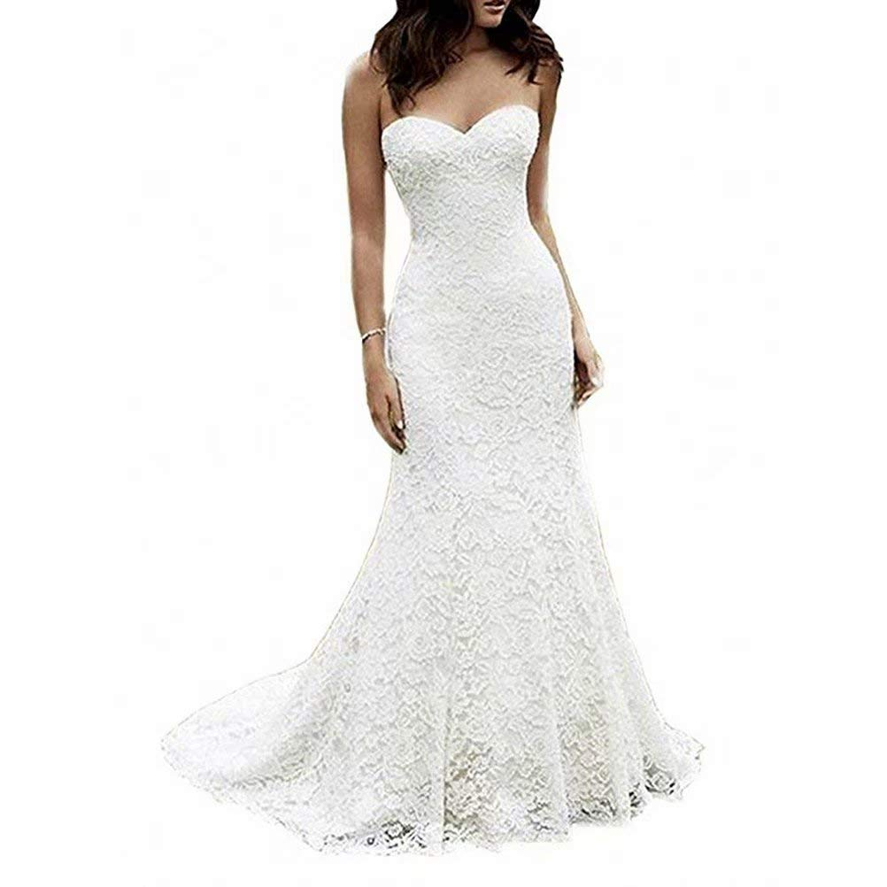 White Ivory Color Women Long Mermaid Lace Wedding Dresses