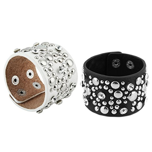HZMAN Unisex Charm Clear Cubic Zirconia Inlaid Metal Spike Studded Wide Leather Bracelet (Black & White 2 Set) (Set Leather Studded)