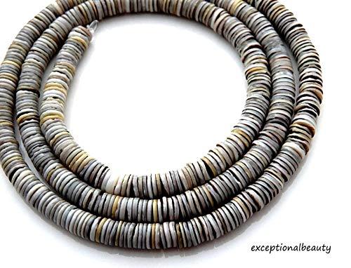 Green Shell 4-5mm Heishi Slice Tropical Puka Shell Beads Long 24 Inch Strand