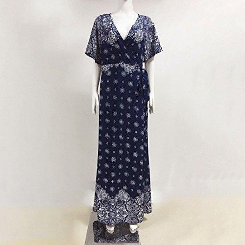 QIYUN.Z Las Mujeres De Cuello En V Imperio Bohemio Cintura Playa Sundress Maxi Vestido Abrigo Cubrir Hasta Tesoro Azul