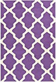 Safavieh Cambridge Collection CAM121K Handmade Moroccan Geometric Purple and Ivory Premium Wool Area Rug (3' x 5')
