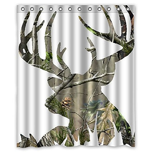 Libaoge Camo Deer Head White Mildew Free Waterproof Fabric Polyester Shower Curtain