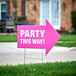 Party This Way Yard Sign Pink Decoration