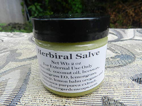 Salve Lemon - Skin Salve 2oz with Extract of Lemon Balm, Lemongrass, Anise Hyssop, Oregano and Echinacea Scented with Lemongrass Essential Oil. Made with Organic Coconut oil, Olive Oil and Organic Raw Beeswax