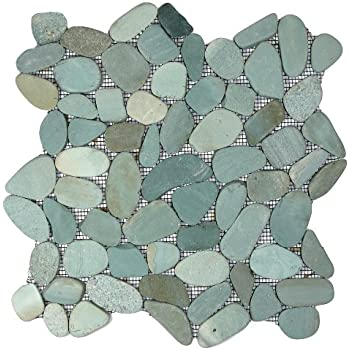 Sliced Sea Green Pebble Tile 1 Sq.ft. (Mesh Mounted)