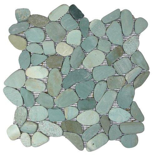 Sliced Sea Green Pebble Tile 1 sq.ft. (Mesh Mounted)