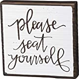 Primitives by Kathy Inset Subway Tile Bathroom Box Sign - Please Seat Yourself