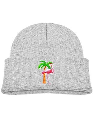 Kids Knitted Beanies Hat Cute Pink Flamingo Santa Hat Christmas Winter Hat Knitted Skull Cap for Boys Girls Black