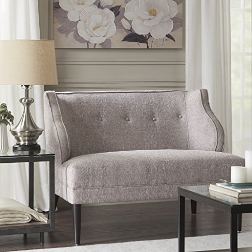 Madison Park Sorano Modern Mid Century Accent Chair Solid Wood, Plywood, Winged Back Button Tufted Lounge Loveseat – Family Room Sofa Furniture, See below below, Grey