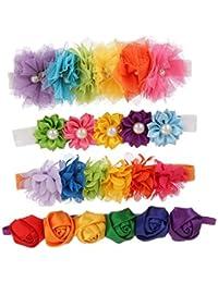 Baby Girl's Headbands, Elastic Flowers Headband for Girl, Children Headdress, Rainbow Pack of 4