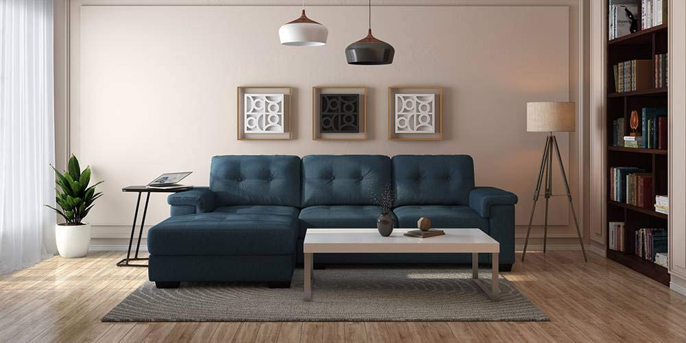 Urban Ladder Turin Sectional Sofa Colour- Blue, Left Algin: Amazon.in: Home & Kitchen