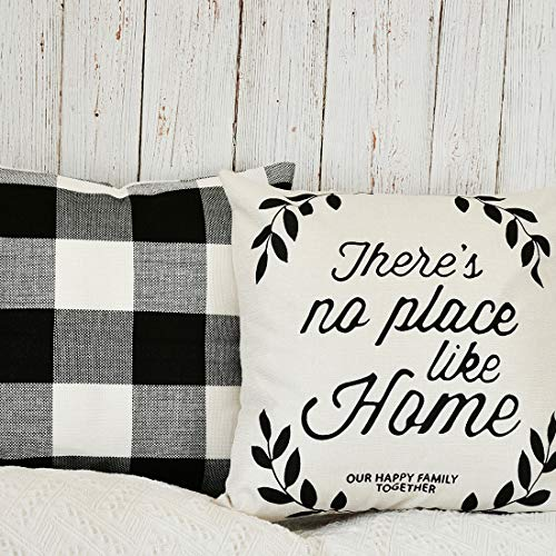 PANDICORN Set of 2 Farmhouse Decorative Throw Pillow Covers, Retro Checkers Throw Pillows Cases with Inspirational Quotes Home Family, Black and White Buffalo Check Pillowcases for Couch, 18x18