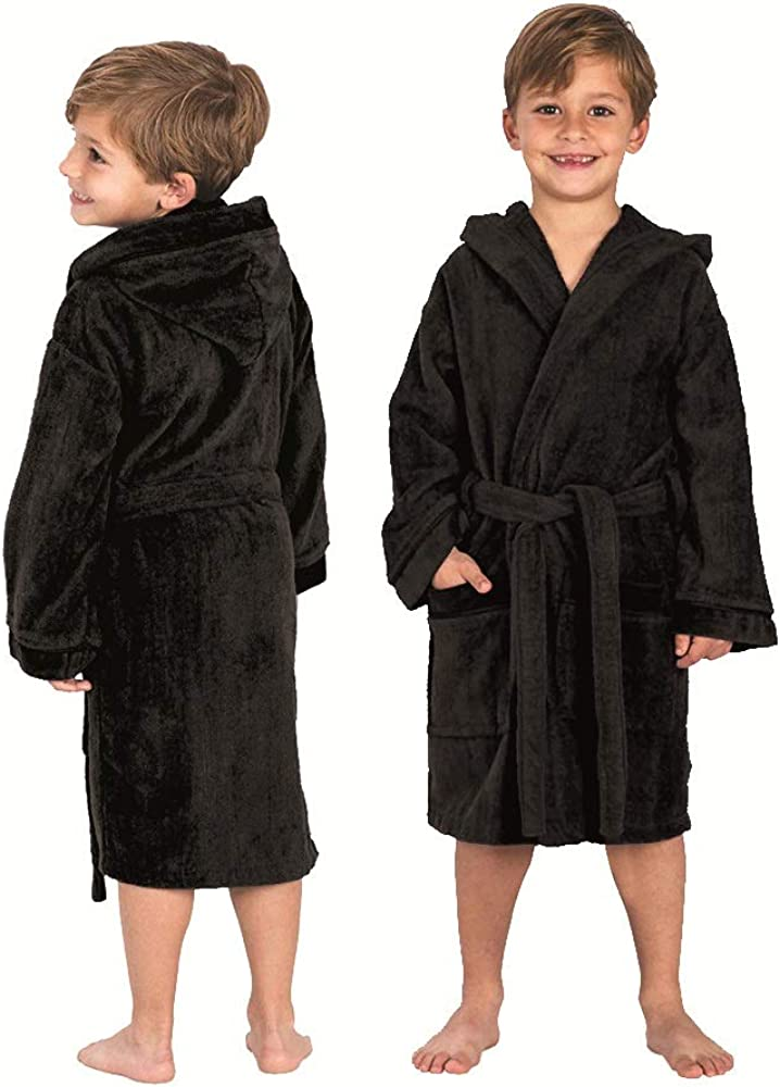 Tims Bathrobes Kids Boys Girls Bathrobe 100/% Cotton Velour Hooded Towelling Dressing Gown . Free of Harmful Chemicals and Dyes