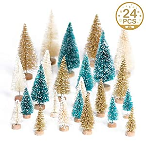 Aparty4u 24pcs Artificial Mini Christmas Tree, Frosted Sisal Christmas Tree with Wooden Base Bottle Brush Trees for Christmas Table Top Decor Green, Gold and Ivory 96