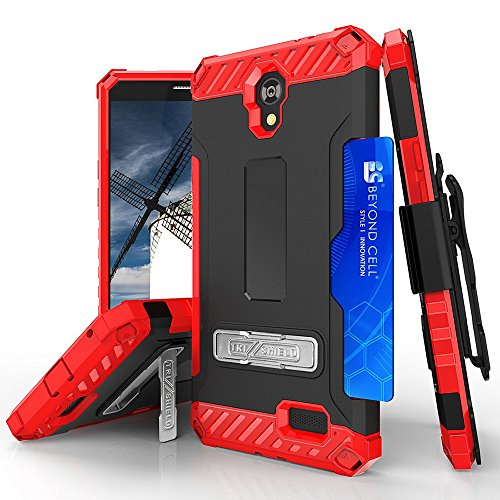 3 Slot Belt - ZTE Prestige 2 N9136 Case, ZTE ZFive 2 Case, ZTE Maven 3 Case, ZTE Overture 3 Case, TJS With 360°Belt Clip Holster Metal Kickstand Hybrid Tri Shield Shock Absorbing Armor Case Card Slot (Red/Black)