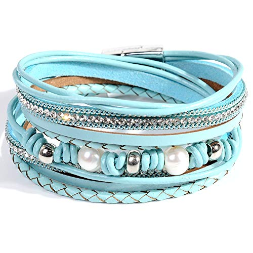 Artilady Shinning wrap Clasp Bangle for Women (Light Blue with Pearl) -