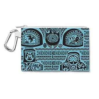 Maui Tattoos Inspired Disney Moana Blue - 2XL Canvas Pouch 13x10 inch - Canvas Zip Pouch - Multi Purpose Pencil Case Bag