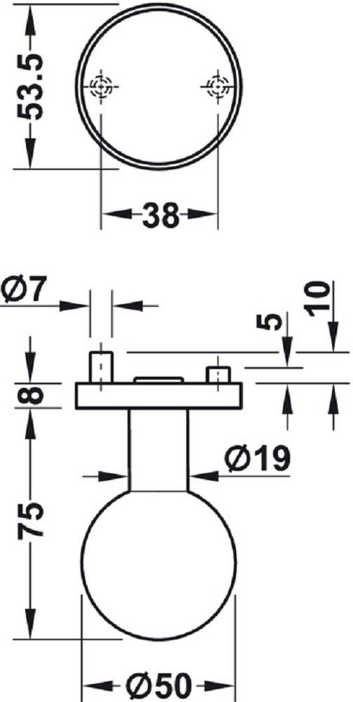 para interior y exterior pomo esf/érico herraje para puerta de acero inoxidable pomo de 50 mm de di/ámetro Pomo para puerta moderno herrajes de construcci/ón de Juva/® roseta redonda modelo LDK 214