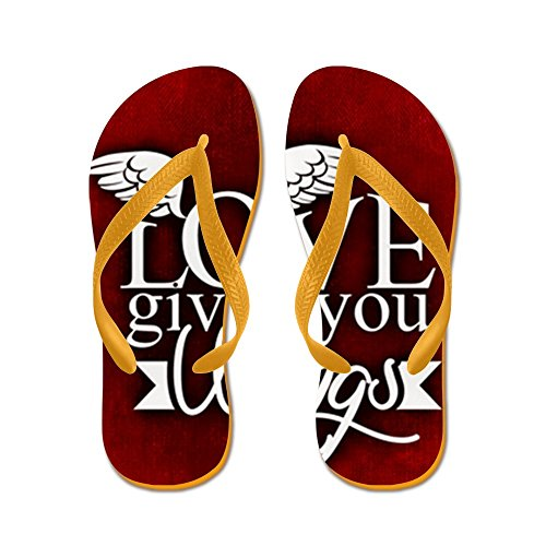 Truly Teague Mens Love Gives You Wings Rubber Flip Flops Sandals Orange d84BQ