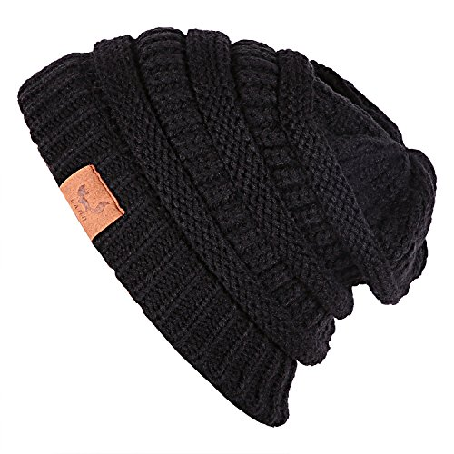 Laho Unisex Trendy Warm Chunky Soft Stretch Cable Knit Hat Slouchy Skully Beanie Cap Chunky Cable Hat