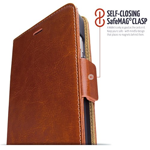 dreem iPhone 6/6s Wallet Case with Detachable SlimCase, Fibonacci Luxury Series, Vegan Leather, RFID Protection, 2-Way Stand, Gift Box - Caramel Brown
