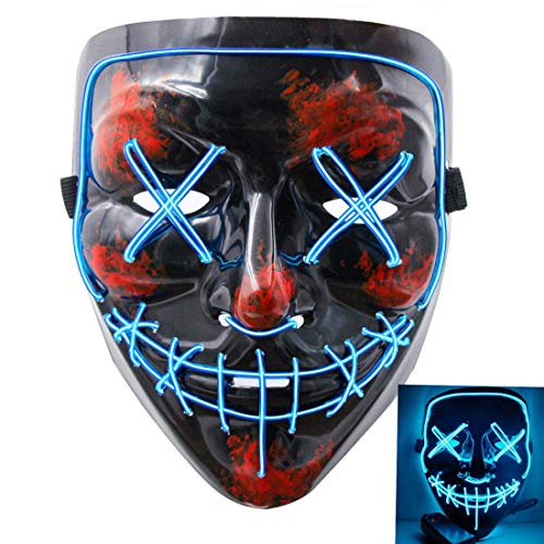 Qhome LED Light up Purge Mask for Festival Cosplay Halloween Costume -