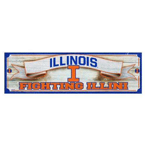NCAA College Vault Illinois Fighting Illini Panoramic Wood Sign, 9 x 30-Inch