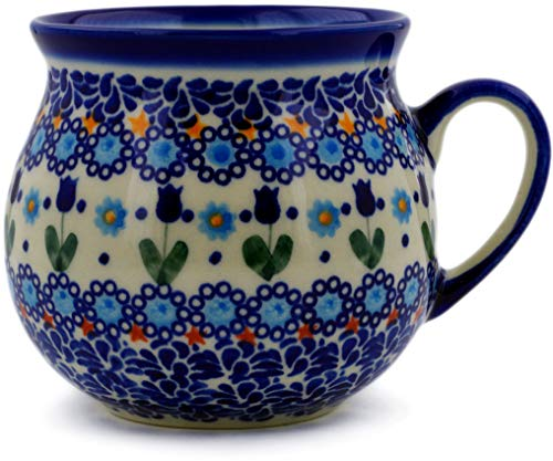 Polish Pottery 21 oz Bubble Mug (Blue Tulip Garden Theme) Signature UNIKAT + Certificate of Authenticity
