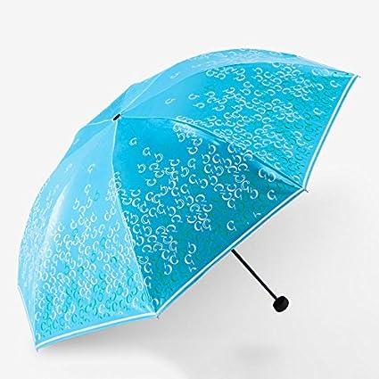 Paraguas plegable automatico Mujer niño Hombre an- Sombrilla plástica Negra Tres Veces - luz Solar