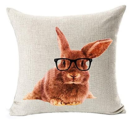 5c15858eb8f8d Nordic Ink Painting Animal Adorable Funny Bunny Rabbit Tummy Wearing  Glasses Cotton Linen Throw Pillow Case