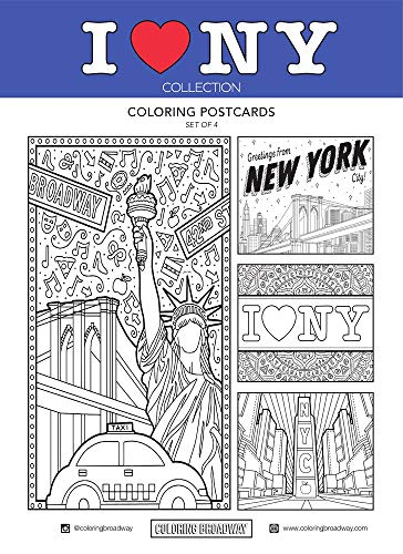 "I LOVE NY - Coloring Postcards - Hand-drawn illustrations by Coloring Broadway. Printed on matte card stock. (5"" x 7"" - Set of 4)"