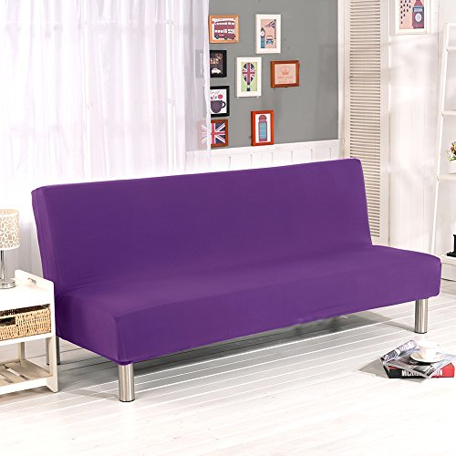 Aneil Sofa Bed Cover Futon Slipcover Solid Color Full Folding Elastic Armless 80 x 50 in (Purple) (Futon Cover Purple)