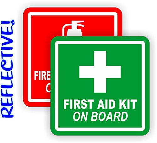 REFLECTIVE 2-inch Fire Extinguisher - First Aid Kit on Board Vinyl Decals | Jeep Stickers | 4x4 Labels Pair