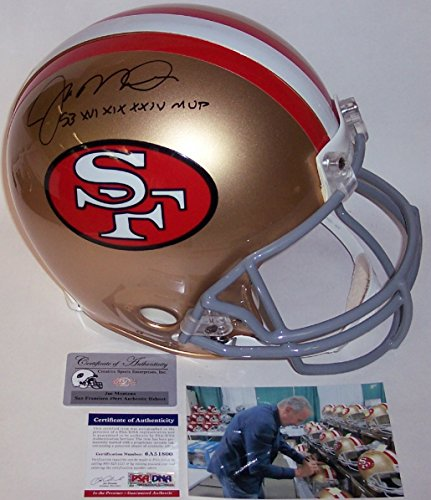 Joe Montana Autographed Hand Signed San Francisco 49ers Throwback Full Size Authentic Football Helmet - with 3x Super Bowl MVP Inscription - (Autographed Authentic Football Helmet)