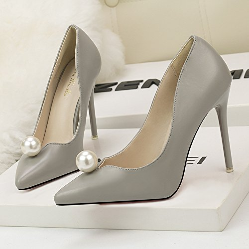 Korean sweet Grey with shoes pearl high tip heeled women's fine women's simple fashion shoes and shallow mouth rqawFrtxpH