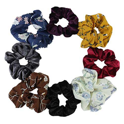 8 Pcs Big Hair Scrunchies Velvet Elastics Hair Bands and Chiffon Flower Hair Ties Ropes Ponytail Scrunchy for Women and Girls Hair Accessories