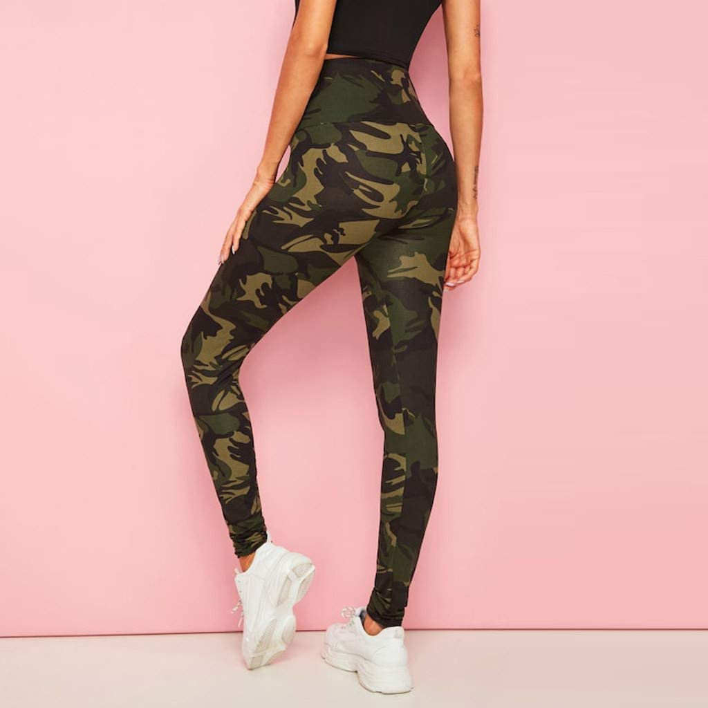 High Waist Womens Leggings,Camouflage Print Tummy Control Sports Stretch Yoga Pants Casual Training Workout Running Tights Trousers