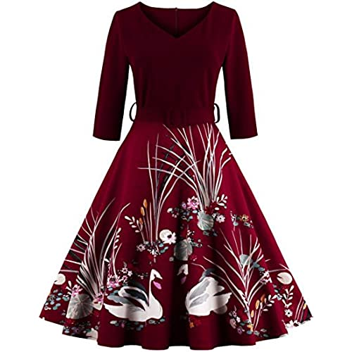 Jiuzhoudeal Womens Vintage 1950s 3/4 Sleeve Floral Cocktail Party Prom Swing Dress (Small, Red)