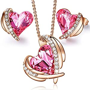 CDE Pink Angel 18K Rose Gold Jewelry Set Women Heart Pendant Necklaces and Stud Earrings Sets Embellished with Crystals from Swarovski for Her with Gifts Box