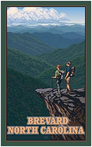 Brevard North Carolina Mountains Hikers Travel Art Print Poster by Paul Leighton (30