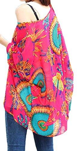erdbeerloft - Basic Kaftan Tunika mit Rosen Print im Batwing Look, Größe One Size, Rot